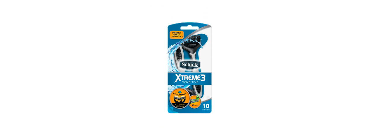 Одноразовые станки SCHICK EXTREME 3 SENSITIVE 10 ШТ.